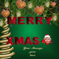 My Merry Christmas 3d Card By Deborah   Merry Xmas 3d Greeting Card (8x4)   Q9v6or79t64d   Www Artscow Com Inside