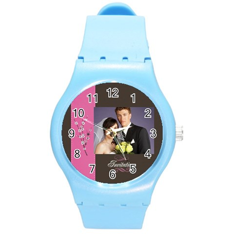 Wedding By Jacob   Round Plastic Sport Watch (m)   3byavqgvl4lf   Www Artscow Com Front