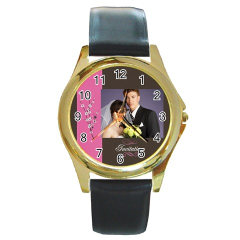 Wedding By Jacob   Round Gold Metal Watch   3u2aespyd33r   Www Artscow Com Front