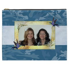 Blue Camo Cosmetic Bag (xxxl) By Kim Blair   Cosmetic Bag (xxxl)   Ur5etfvw40vc   Www Artscow Com Front
