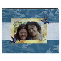 Blue Camo Cosmetic Bag (xxxl) By Kim Blair   Cosmetic Bag (xxxl)   Ur5etfvw40vc   Www Artscow Com Back