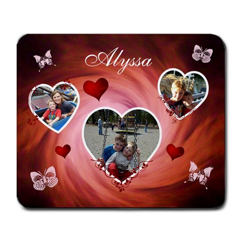 Large Mousepad   Hearts & Butterflies By Lmw   Large Mousepad   Nxm566t9am36   Www Artscow Com Front