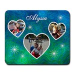 Large Mousepad - Blue Swirls & Hearts