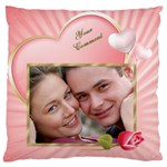 Pink Heart Large Cushion Case - Large Cushion Case (One Side)
