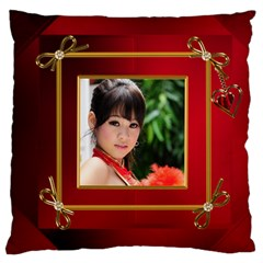 Red And Gold Framed Large Cushion Case (2 Sided) By Deborah   Large Cushion Case (two Sides)   D5iv0x7539e1   Www Artscow Com Front