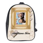 Cream Baroque Personalized Photo Backpack - School Bag (Large)