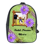 Purple/Green Flower Photo Personalized Backpack - School Bag (Large)