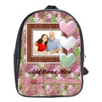 Pink/Green Girls Photo Personalized Backpack - School Bag (Large)