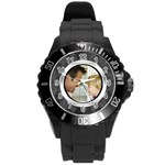 Silver/Gray Photo Frame Watch - Round Plastic Sport Watch (L)
