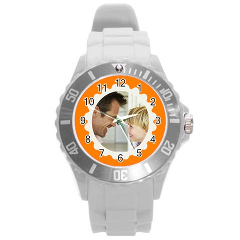 Orange/white Photo Frame Watch By Angela   Round Plastic Sport Watch (l)   On44baed27j6   Www Artscow Com Front