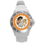 Orange/White Photo Frame Watch - Round Plastic Sport Watch (L)