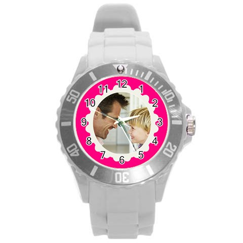 Hot Pink/white Photo Frame Watch By Angela   Round Plastic Sport Watch (l)   P22zgk33l99x   Www Artscow Com Front