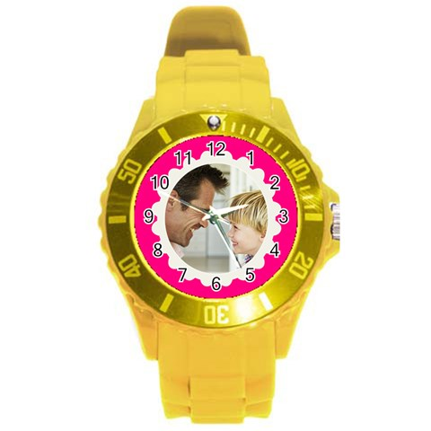 Hot Pink/white Photo Frame Watch By Angela Front
