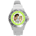 Chartreuse Green/White Photo Frame Watch - Round Plastic Sport Watch (L)