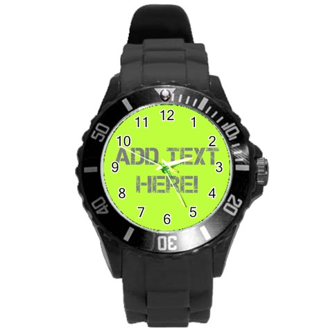 Chartreuse Green/white Personalized Watch By Angela   Round Plastic Sport Watch (l)   Dwc8k2fvu7nz   Www Artscow Com Front