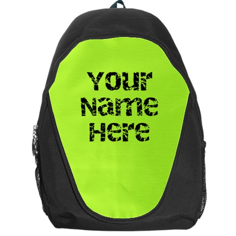 Chartreuse Green Personalized Name Backpack Rucksack By Angela   Backpack Bag   4ydv69kzgijx   Www Artscow Com Front
