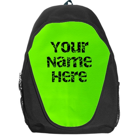 Neon Green Personalized Name Backpack Rucksack By Angela   Backpack Bag   Axjhwqhebwbv   Www Artscow Com Front