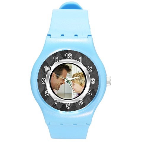 Silver/gray Photo Frame Watch By Angela   Round Plastic Sport Watch (m)   I6rfe5gx0mxw   Www Artscow Com Front