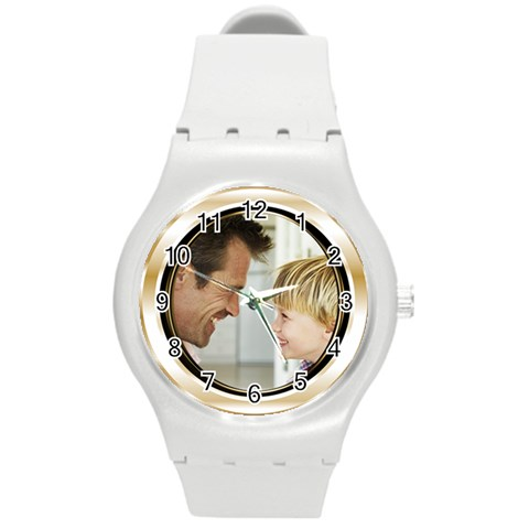 Gold Frame Photo Watch By Angela   Round Plastic Sport Watch (m)   Jkxkoq474t4f   Www Artscow Com Front