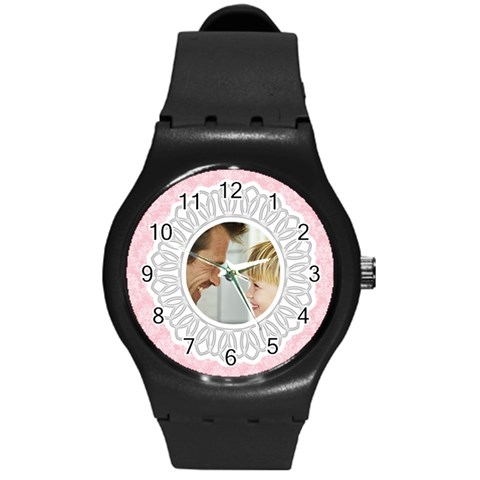 Lacy Pink/white Photo Watch By Angela   Round Plastic Sport Watch (m)   Ntkbnkeeipg3   Www Artscow Com Front