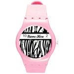 Personalized Name Zebra Stripes Watch - Round Plastic Sport Watch (M)