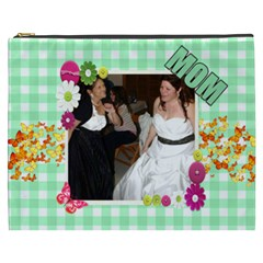 Green Gingham With Butterflies Cosmetic Bag (xxxl) 2 Sides By Kim Blair   Cosmetic Bag (xxxl)   I1wrfcp7gkfs   Www Artscow Com Front