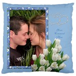 Tulips in Blue Large Cushion Case - Large Cushion Case (One Side)
