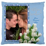 Tulips on Blue Large Cushion Case (2 sided) - Large Cushion Case (Two Sides)