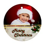 Merry Christmas Ornament (2 sided) - Round Ornament (Two Sides)