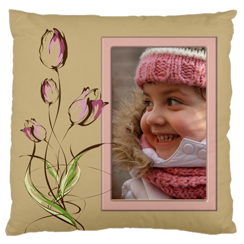 Tulip In Pink Large Cushion Case By Deborah   Large Cushion Case (one Side)   Md7zlz0dl4i8   Www Artscow Com Front