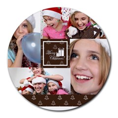 Xmas By M Jan   Collage Round Mousepad   G6jjta6pzwye   Www Artscow Com 8 x8  Round Mousepad - 16