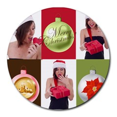Xmas By M Jan   Collage Round Mousepad   G6jjta6pzwye   Www Artscow Com 8 x8  Round Mousepad - 19
