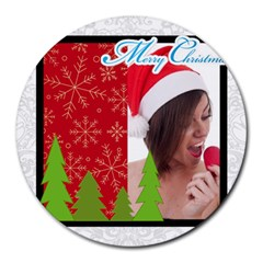 Xmas By M Jan   Collage Round Mousepad   G6jjta6pzwye   Www Artscow Com 8 x8  Round Mousepad - 3