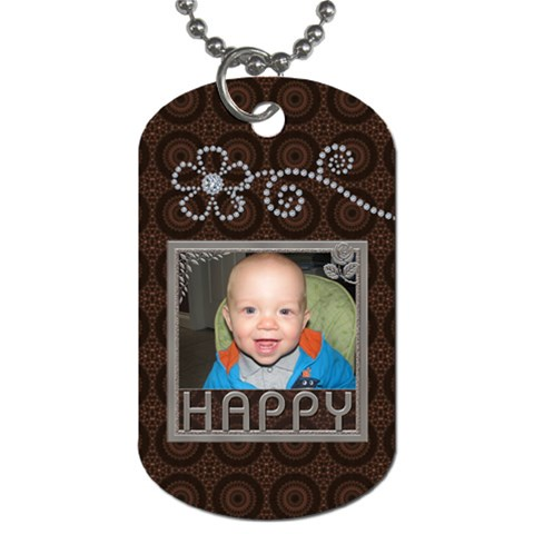 Happy Dog Tag (one Side) By Lil    Dog Tag (one Side)   Ryg03m0b5qho   Www Artscow Com Front