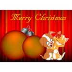 Red ornament Christmas 3D card (7 x 5) - Circle Bottom 3D Greeting Card (7x5)
