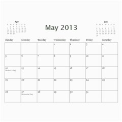 2013 Basic Black & White Calendar By Mim   Wall Calendar 11  X 8 5  (12 Months)   1b0wurlpb201   Www Artscow Com May 2013