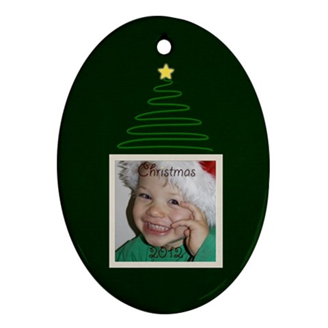 Green Christmas Oval Ornament By Mim   Ornament (oval)   Xrpllovjml27   Www Artscow Com Front