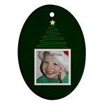 Green Christmas Oval Ornament - Ornament (Oval)