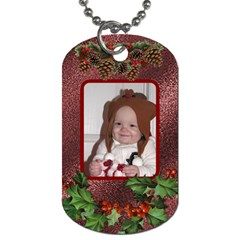 Christmas Holly 2 Sided Dog Tag By Lil    Dog Tag (two Sides)   Gpwu1noyoqyd   Www Artscow Com Front