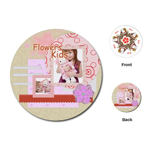 Flower Kids By Jo Jo   Playing Cards (round)   Wve9anlrjq40   Www Artscow Com Front