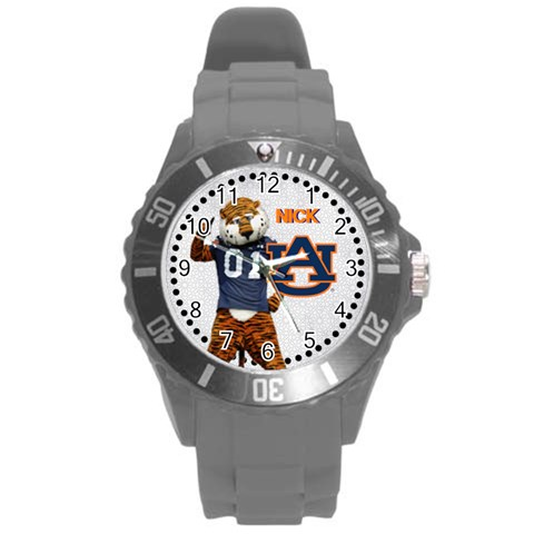 Large Sports Watch Auburn University By Pat Kirby   Round Plastic Sport Watch (l)   7sy16qlgm8x9   Www Artscow Com Front