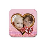 love - Rubber Square Coaster (4 pack)