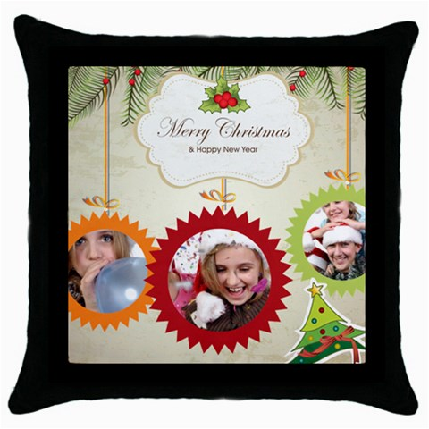 Xmas By Jo Jo   Throw Pillow Case (black)   Ewxt3oxl9ayf   Www Artscow Com Front