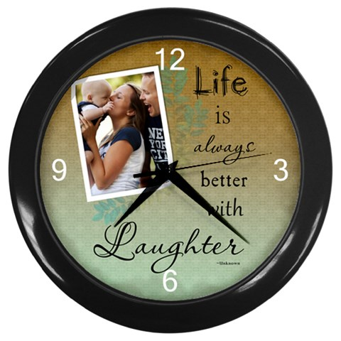 Laughter Wall Clock By Lil    Wall Clock (black)   Njh34t2gqrzi   Www Artscow Com Front