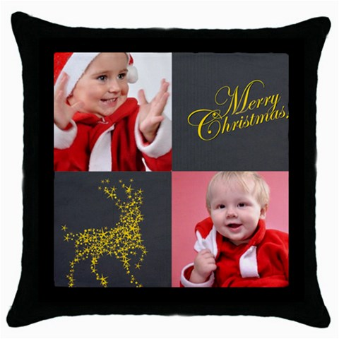 Xmas By Man   Throw Pillow Case (black)   Cykn1eys8fs7   Www Artscow Com Front