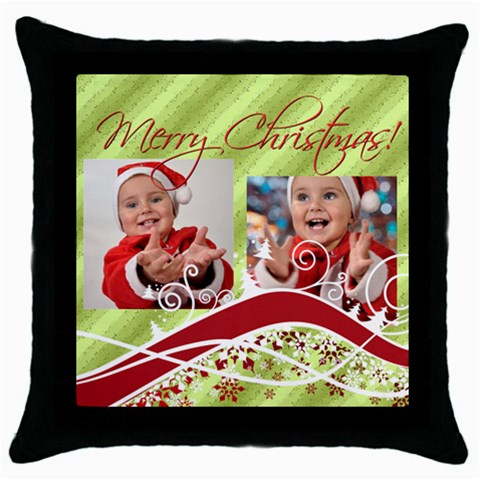 Xmas By Man   Throw Pillow Case (black)   Duox6cqywd2u   Www Artscow Com Front