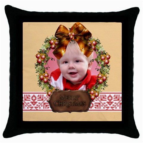 Xmas By Man   Throw Pillow Case (black)   4m0mfh484szg   Www Artscow Com Front