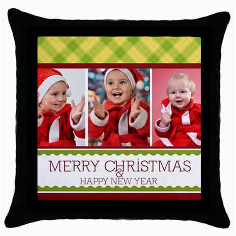 Xmas By Man   Throw Pillow Case (black)   36hoy938jw7a   Www Artscow Com Front