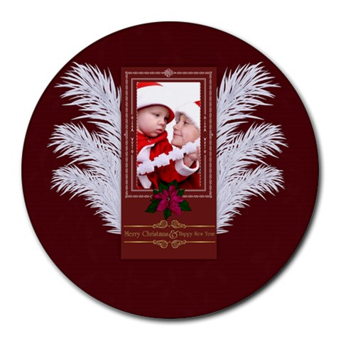Xmas By Debe Lee   Collage Round Mousepad   Vb8sluwu71wv   Www Artscow Com 8 x8 Round Mousepad - 1