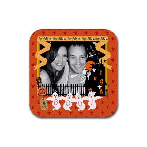 Boo!  Halloween Coaster By Claire Mcallen   Rubber Coaster (square)   K5o4dbojd4g5   Www Artscow Com Front